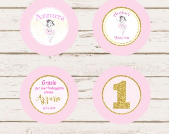 Little Ballerina Personalized Cupcake Topper + Thank you Card