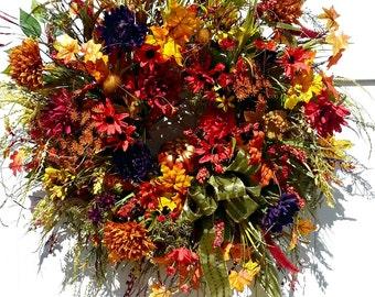 Wreaths Front Door, Autumn Wreaths Front Door, Fall Door Wreaths, Harvest Wreath, Natural Fall Wreath, Fall Decor, Fall Wreath