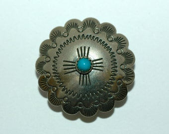 """Southwestern Silver Button with Turquoise. Size 1 3/8"""" (35mm) 1 piece"""