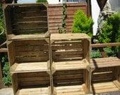 6 x Vintage Rustic European Wooden Apple Crates, ideal storage boxes box display crate bookshelf idea