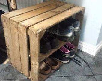 SHABBY CHIC wooden shoe rack / shelving display - handmade vintage apple crate box bushel