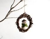 Snowman Wreath Ornament - Felt Snowman - Woodland Christmas Decoration