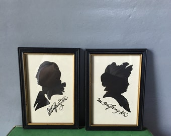 VIntage Pair of Framed Silhouettes, George and Martha Washington