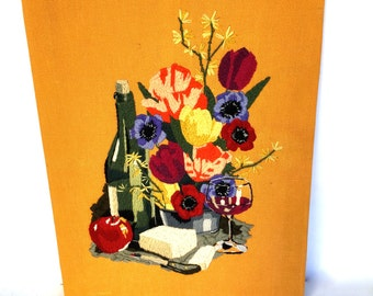 VIntage Crewel Stitched Picture, Wine, Cheese, Flowers