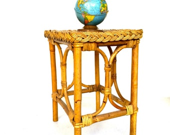 VIntage Wovan Rattan Side Table, Plant Stand