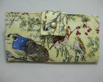 Womens Bird Wallet, Clutch Wallet, Long Bifold Clutch