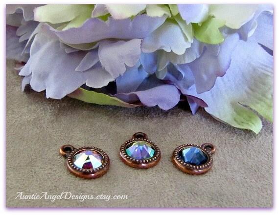 Swarovski crystal copper bezel charm to add to your jewelry design