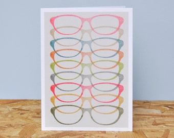 Glasses - Linear Greetings card