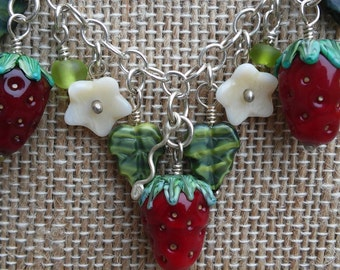 Sterling Silver and Blown Glass Strawberry Necklace