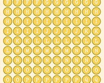October Afternoon Sticky Keys Alphabet Stickers, Honey