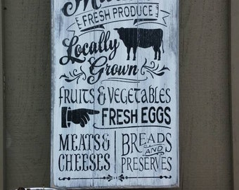 """Farmers Market Distressed Vintage Kitchen Decor Wood Sign Hand Painted 12 x 24"""""""