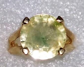 10k Large Yellow Stone Ring