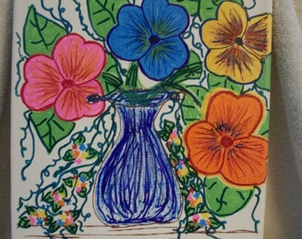 Hand Painted Canvas - Pansies in a Vase Great birthday, mothers day, anniversary or Christmas