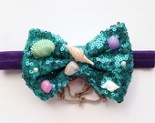 Disney Princess Ariel the Little Mermaid inspired sequin bow Headband