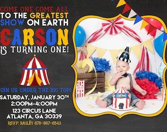 Printable Carnival Birthday Invitation - Circus Birthday Party - Carnival Party Invite Vintage