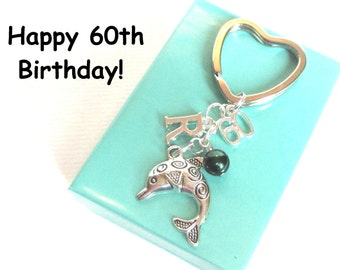 60th birthday gift - Dolphin keychain - Personalised 60th keyring - 60th keychain - Dolphin keyring with pearl - Initial keyring - Etsy UK