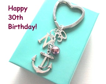 30th birthday gift - Anchor keychain - Personalised 30th keyring - 30th birthday - Anchor keyring with pearl - Initial keyring - UK seller