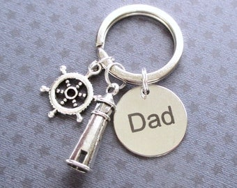 Father's Day gift - Lighthouse keyring - Dad gift - Father's Day keychain - Nautical gift for Dad - Helm keyring - Custom keyring for Dad