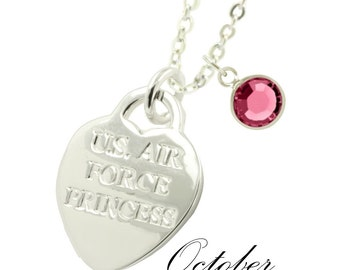 Rhodium Plated Air Force Mom Swarovski Birthstone Necklace (FREE SHIPPING)
