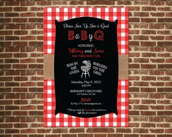 Baby BBQ Digital Invitation - Baby Q or Diaper Party Invitation