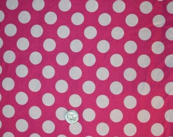 "Brother Sister Design Studio Fabric Medium Size Polka Dot Pink White 1 yd 34"" x 44"""