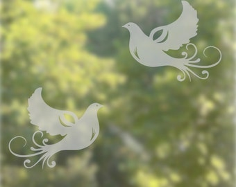Doves  Window Decal Etched Glss Decal Window Decoration Window Decals Translucent Windows