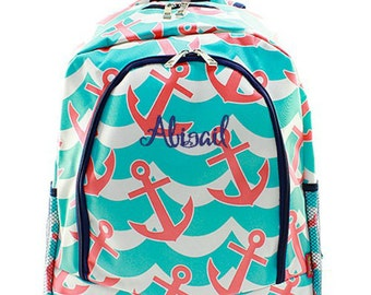 Personalized Anchor Backpack Monogrammed Bookbag Splash Aqua Blue Coral Waves Girls Large Kids Tote School Bag Embroidered Monogram Name