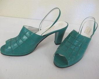 1980 Green Slingback Heels Peeptoe High Heels 1970 Heels 9M