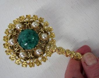 Purse Mirror Jeweled Mirror Filigree Mirror Small Mirror Hand Mirror