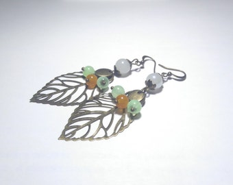 Bronze leaf earrings watermarked and glass beads
