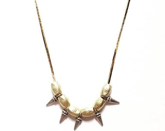 Cleo Beaded Spike Necklace with Turkish Beads and Vintage Shiny Brass Chain