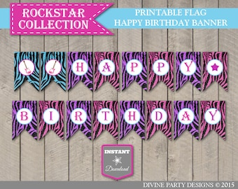 INSTANT DOWNLOAD Rockstar Happy Birthday Banner / Printable / Girl's Party / Rockstar Collection / Item #702