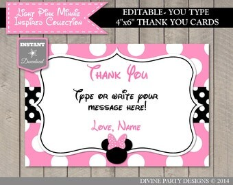 INSTANT DOWNLOAD Editable Light Pink Mouse 4x6 Printable Thank You Card / You Type Name / Light Pink Mouse Collection / Item #1819