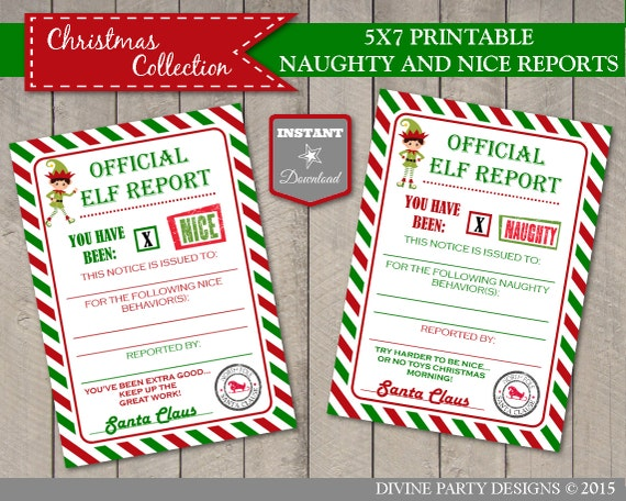 Printable Elf Naughty and Nice Reports