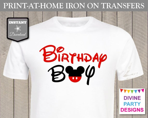 free t shirt transfer templates - instant download print at home mouse birthday boy iron on