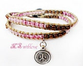 Peace bracelet handmade pink and brown- pink beaded wrap bracelet- boho handmade peace bracelet