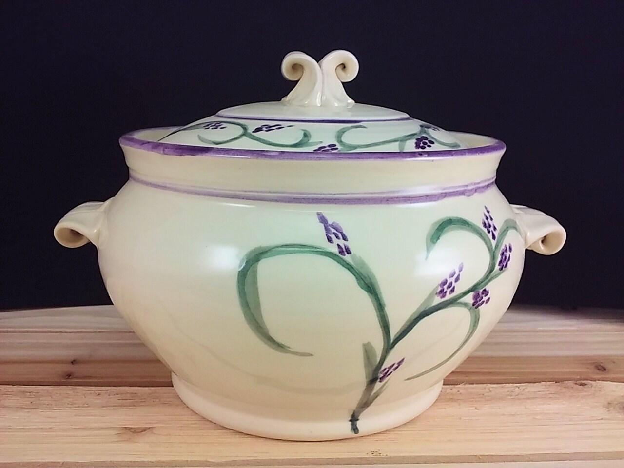 Lavender Purple Casserole Pottery Baking Dish Green And Cream