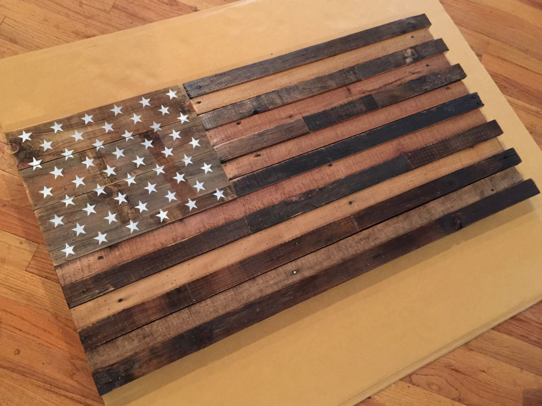 Reclaimed rustic pallet american flag wall art 42 long x