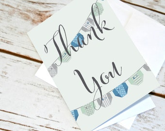 Baby Shower Thank You Cards. Baby Thank Yous for Baby Boy. Diaper Garland Design. Blue Green & Grey