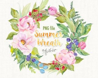 Summer Wreath - watercolor illustration - digital image