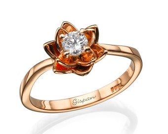 Flower Engagement Ring, Rose Gold Ring, Promise Ring, Bridal Jewelry, Flower Band, Floral Ring, Nature Ring, 14k Ring, Unique Ring