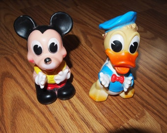 Vintage Mickey Mouse and Donald Duck Rubber Squeak Toys Made in Italy