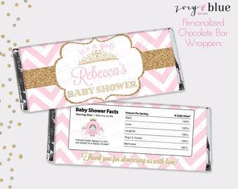 Pink Gold Princess Baby Shower Chocolate Bar Wrapper - Princess Birthday Favor Candy Bar Wrap - Baby Sprinkle Chevron Printable Digital File