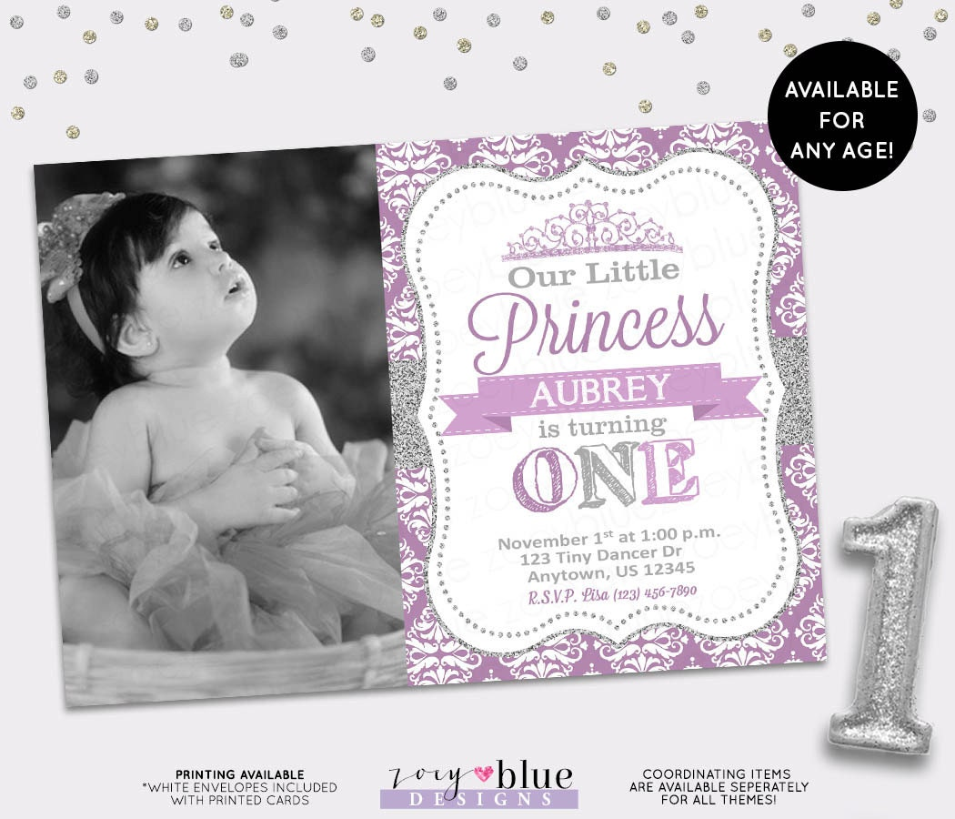 Princess Birthday Invitation Purple Silver Glitter Little Princess – Girl First Birthday Invitation