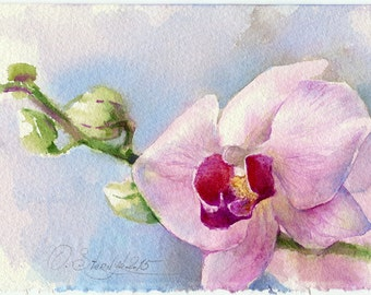 Print of flower watercolor painting - gicllee print of orchid flower watercolour