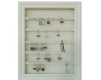 "Earring Holder - Holds 100 pair - Made with a 10""x13"" Picture Frame - Wall Mounted - Available in 4 Colors - White"