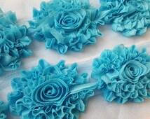 "wholesale shabby flower trim,3""  BLUE shabby GLITTER rose trim ,headband supplies, shabby flower  by the yard,embelishment flower,DIY supply"