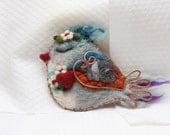 Blue Bird Red Heart brooch gift to Mom, blue red bird animal fun felt accessory spring brooch