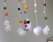 Animal Lamb Mobile for baby, needle felted nursery mobile with sheeps  Waldorf nursery decor for kids room Baby show gift