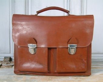 Vintage french genuine LARGE leather teacher bag / school briefcase. Laptop case.